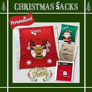 PERSONALISED CHRISTMAS SANTA SACK. EMBROIDERED NAME. GIFT SACK. LARGE, STOCKING