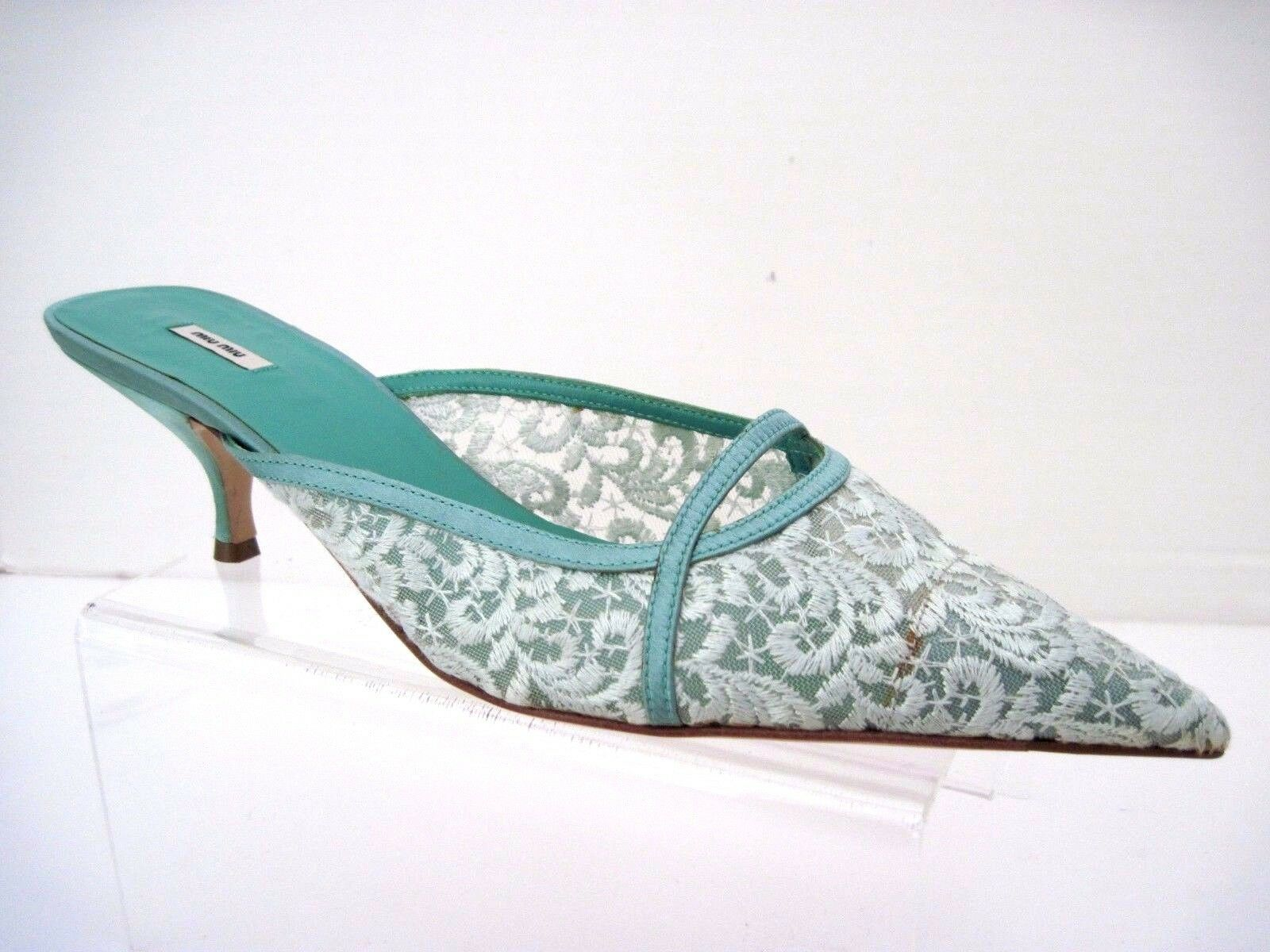 MIU MIU Mint Green Embroidered Lace Detail Pointed Toe Kitten Heel Pumps Size 39