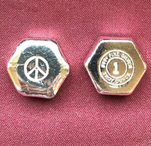 1-oz-Hand-Poured-999-Silver-Bullion-Bar-034-Peace-Hexagon-034-by-YPS