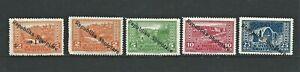 Albania-Five-1925-Mint-Stamps-Optd-Republika-Shqiptare-SG-178-182