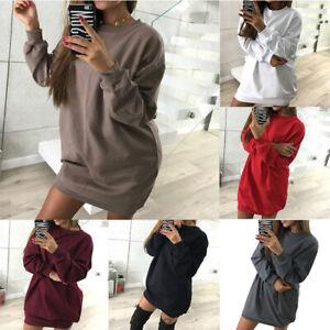 Top-Sweater-Jumper-Oversized-Womens-Long-Pullover-Sweatshirt-Hoodie-Dress