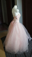Bella Formal Pink Strapless Wedding Dress Sequins Ruffles 8 Sweethart Organza