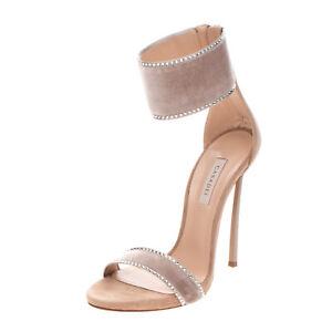 RRP €590 CASADEI Velour Ankle Strap Sandals Size L 38 R 36.5 Rhinestones Heel