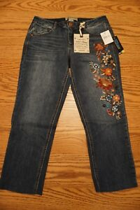 NWT-WOMENS-DEMOCRACY-JEANS-Multiple-Sizes-Flex-ellent-Girfriend-Crop-Embroidered