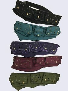 New-Hippie-Boho-Festival-adjustable-Money-Belt-5-pockets-3-Colours