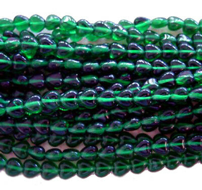 100 Exquisite Emerald Tiny Heart Glass Beads 6MM