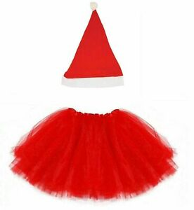 LADIES RED DELUXE SANTA HAT TUTU COSTUME CHRISTMAS XMAS FANCY DRESS PARTY OUTFIT