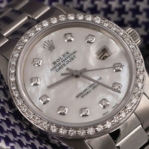 Rolex-Datejust-31mm-White-Mother-Of-Pearl-Dial-SS-Oyster-Band-amp-Diamond-Bezel