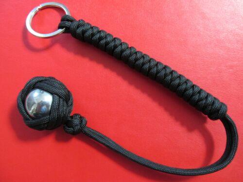 "STEEL CORE Self EDC Key Paracord Monkey Fist Survival 12/"" Forces Black"