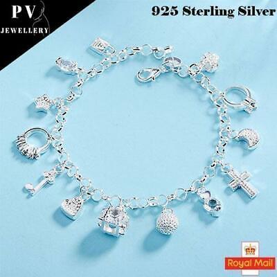 Adjustable Retro Boho Hippies 925 Sterling Silver Bangle Bracelet Womens Girls