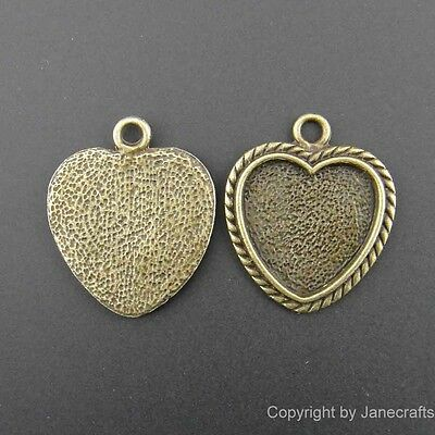 20pcs Antique Style Bronze Alloy Heart Cameo Setting 25mm/18mm Pendant Charms UP