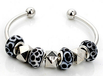1pc nice handmade charm cuff bracelet fit European multicolor mix beads S-666