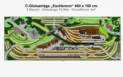 "DIN a4-cartella color Gp4-0070 Märklin C-BINARIO-Plan /""Eschbronn/"" 400x150 cm"