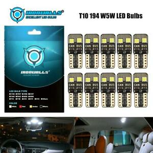 10X T10 5SMD 5050 LED Light Bulbs White CANBUS For Licence Plate Read Dashboard