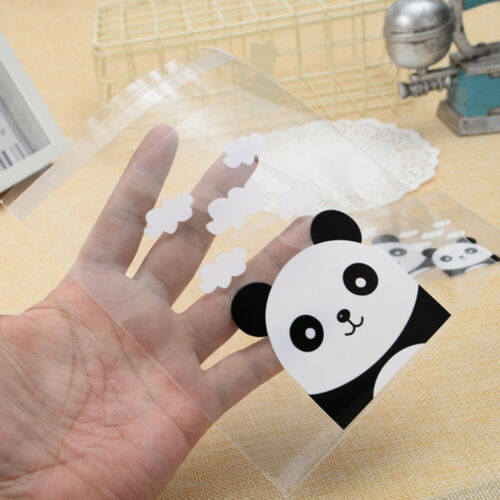 100pcs Cute Panda Self-adhesive Cookies Bag Wedding Candy Bags Party Supplies.