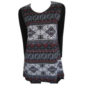 Tunic-Tops-Plus-Size-10-12-14-16-18-20-EVERSUN-Red-Black-Dress-Paisley-Floral