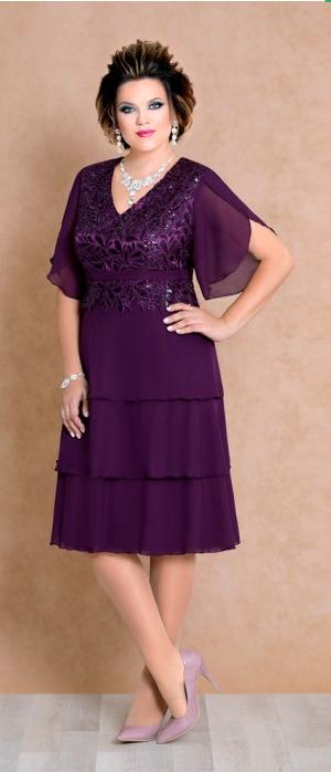 Abendkleid Big Größe Gr.38,40,42 .Farbe Pflaume
