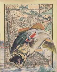 Details About Vintage Fishing Lures B Club Minnesota State Map Art Print Cabin Wall Decor