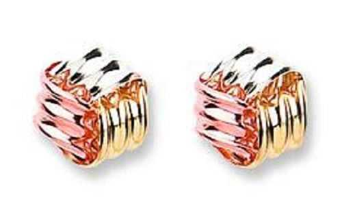 9CT HALLMARKED YELLOW pink & WHITE gold POLISHED 8MM KNOT STUD EARRINGS