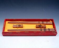 """Gift Set 2 Pairs Blessing Characters """"FU"""" Painted Wooden Chopsticks w/ 2 Holders"""