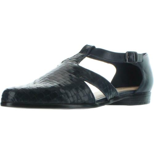 Trotters Womens Leatha Navy Leather Woven D/'Orsay Shoes 7 Wide C,D,W BHFO 8382