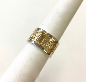 Details about Two Tone 14k Gold Ring with Golden Topaz Size: 8 5