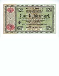 GERMANY-5-REICHSMARK-KONVESIONKASSE-OVPT-1934-PERF-034-ENTWERET-034-UNC