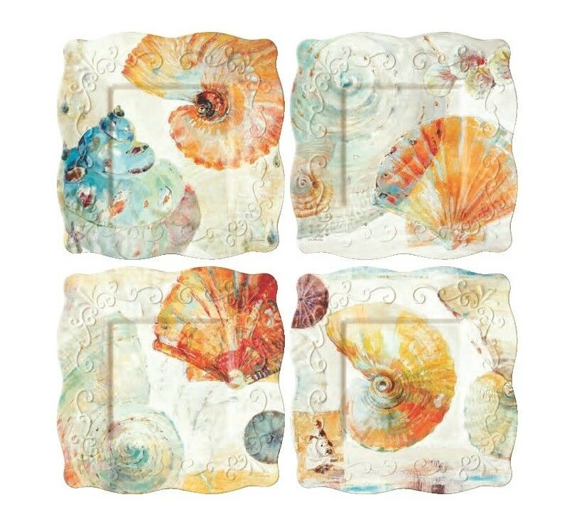 MERRITT WATERCOLOR SHELL 8  SQUARE MELAMINE SALAD LUNCHEON PLATES SET OF SIX