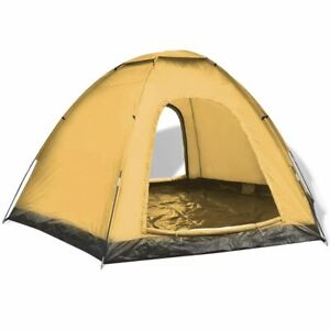 vidaXL-6-Person-Tent-Yellow-Outdoor-Camping-Hiking-Sun-Shelter-Family-Trip