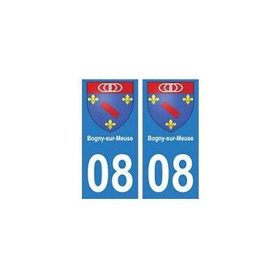 08 Bogny-sur-meuse Autocollant Plaque Ville Département - Angles : Droits