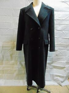 Pendleton-Womens-Long-Trench-Coat-size-10-Wool-Gray-Double-Breasted-Lined-Vent