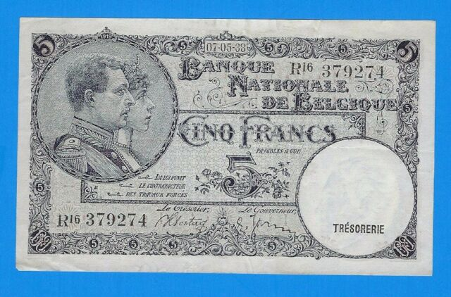 1938 Belgium 5 Cing Five Francs Note P-108a XF World Currency Banknote