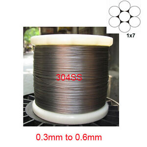 1x7 304 Stainless Steel Cable Wire Rope 0.3mm to 0.6mm | eBay