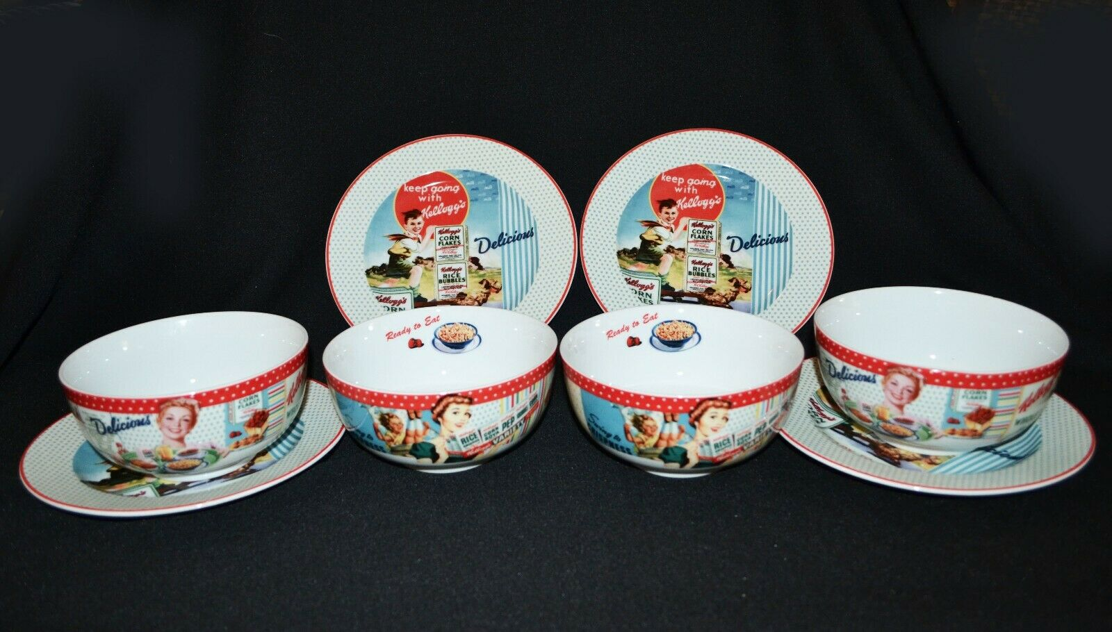 Kellogs Vintage Style Breakfast Plates And Bowl Set 2012  Rare Hard To Find