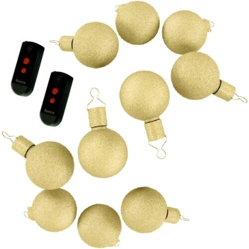DEL des fusées éclairantes boules de Noël Boules de Noël 10er-set Télécommande Gold
