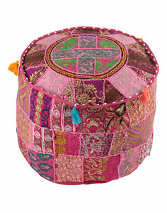 Pink-Ottoman-Pouf-Cover-Indian-Floor-Seating-Patchwork-Bohemian-Home-Decor