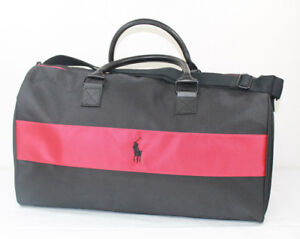 db86827721 RALPH LAUREN Duffle Bag Red Black Gym Travel Overnight Weekender New ...