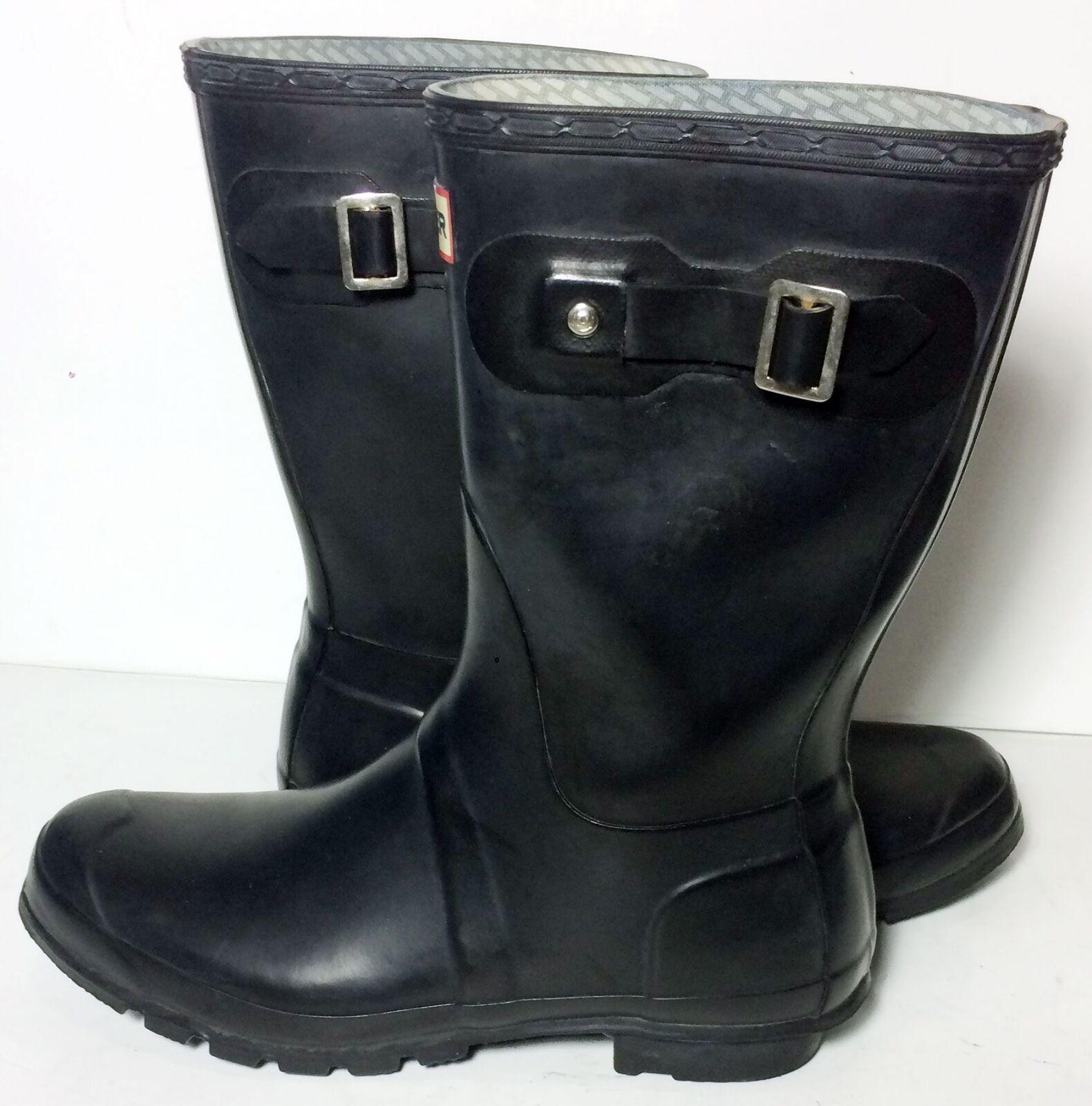 HUNTER Original Short Gloss Black Rubber Rain Boots Women's Size 10