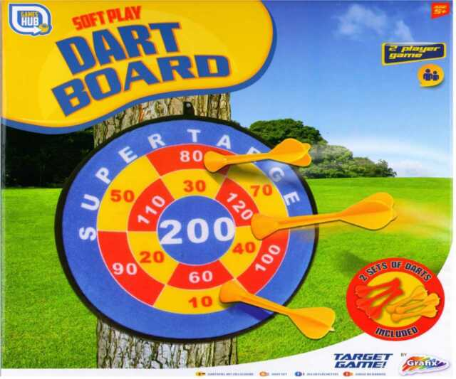 Childrens Kids Soft Safe Sticky Target Dartboard & Darts Game Sports Toy SR31