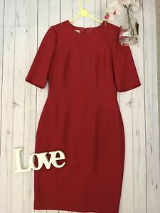Hobbs-Size-10-red-fitted-wool-blend-sleeved-work-office-career-business-dress