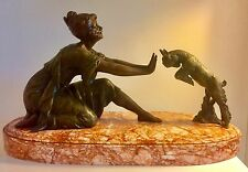 Art Deco / Nouveau Sculpture Figure Lady And The Goat Signed Geo Maxim