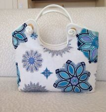 Auth EMILIO PUCCI Logos Hand Tote Bag White with Blue Velour Leather Italy