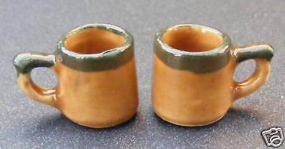 1:12 Scala 2 In Ceramica Brown E Green Coffee Tazze Casa Delle Bambole Accessorio Bere Br30-