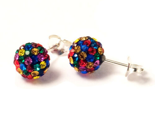 4 sizes 925 Sterling Silver Multi-Coloured Crystal Studded Ball Earrings