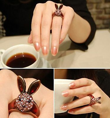 R1236 New Nice Fashion Vintage Fashion Pink Crystal Lovely Rabbit Ring