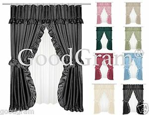 Dobby Design Double Swag Shower Curtain Sets Assorted