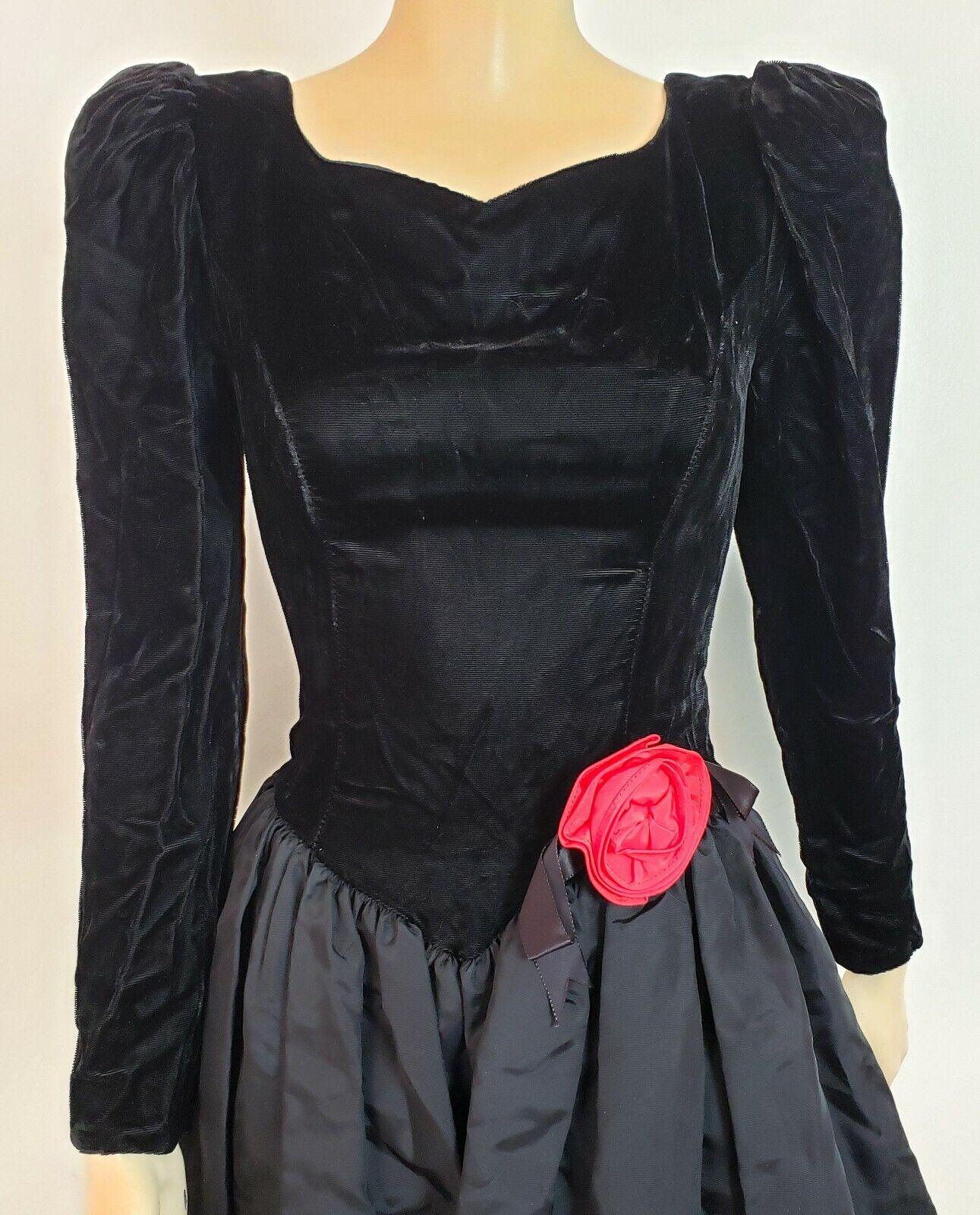 Vtg 1980s GUNNE SAX TAFFETA & VELVET PROM DRESS G… - image 2