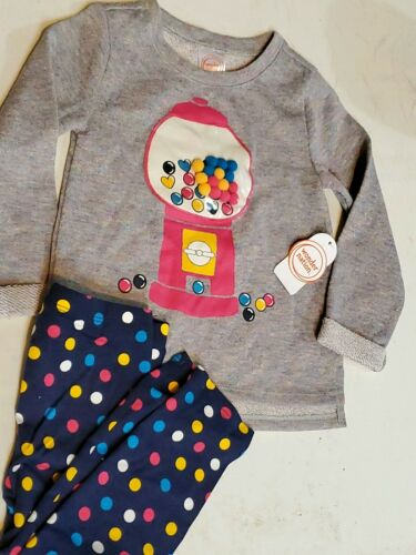 WONDER NATION Little Girls 3T  Two PC OUTFIT NEW Bubble Gum Machine Pom