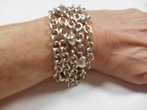 TIFFANY-amp-Co-Puffed-Heart-Multi-5-Strand-Chain-Toggle-Clasp-Bracelet-RARE-Exclnt