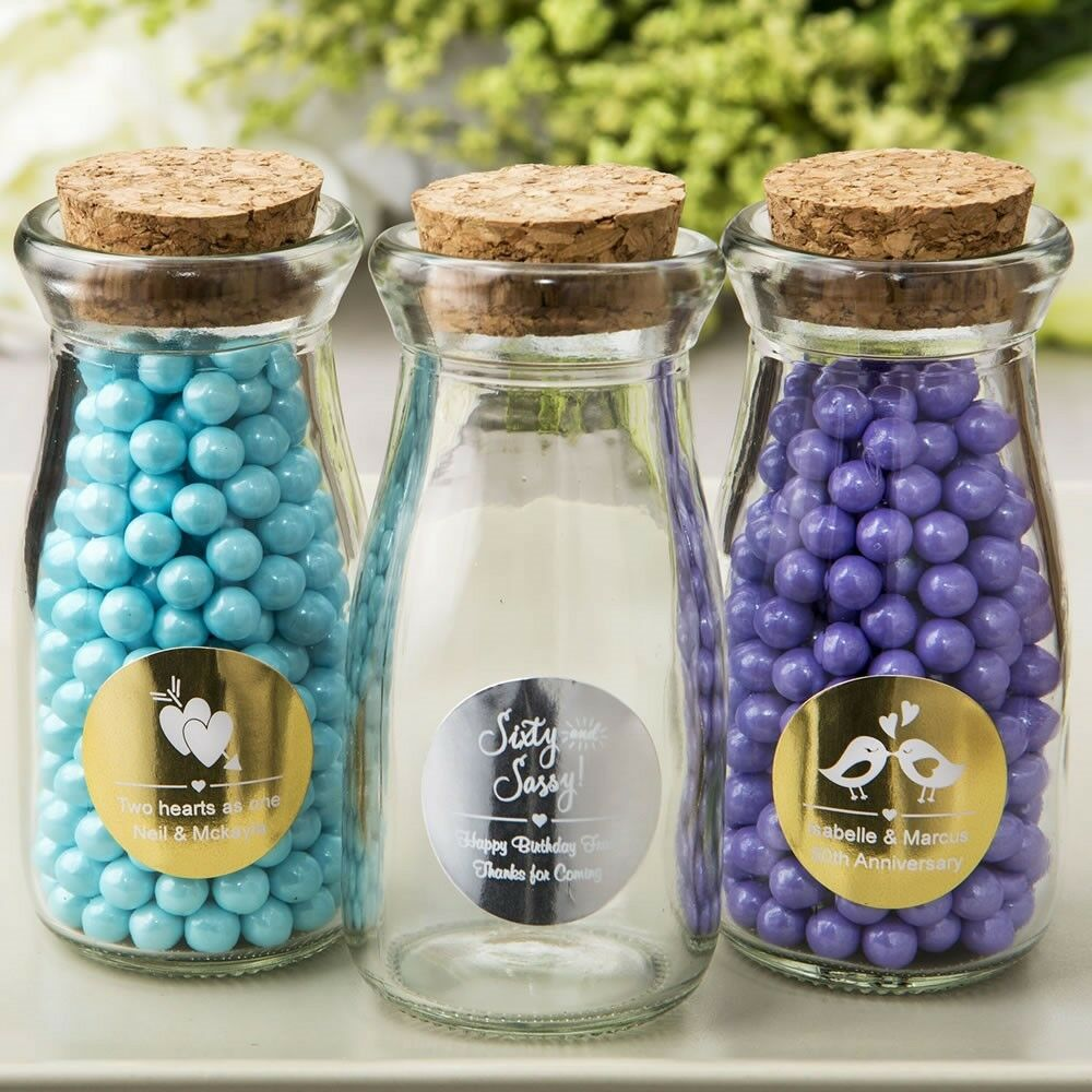 50 Personalized Vintage Milk Bottles Wedding Bridal Baby Shower Party Favors